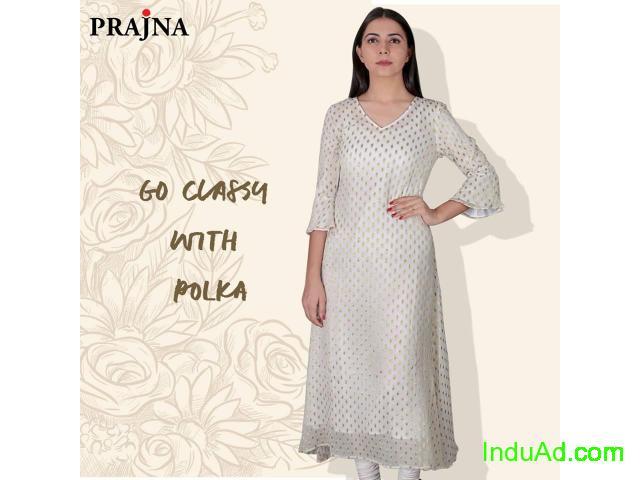Online Kurtis- Chanderi embroidered kurta Prajna Fashion